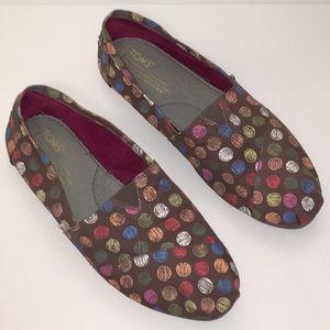 TOM'S Brown Multi-Color Dot Women's Classics 9